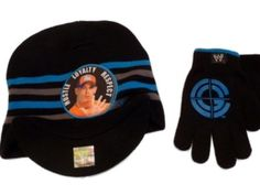 WWE Boys Black Knit John Cena Hat & Gloves beanie set