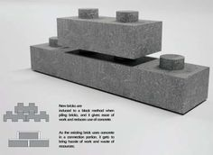 Return Brick Gives Broken Construction Bricks a Lego-like Avatar Legos, Interlocking Concrete Blocks, Brick Architecture, Pavilion Architecture, Sustainable Architecture, Sustainable Design, Residential Architecture, Contemporary Architecture, Landscape Architecture