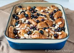 Gratin de Croissant with Blueberries and Almonds