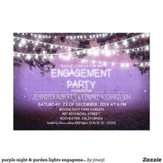 purple night & garden lights engagement party card