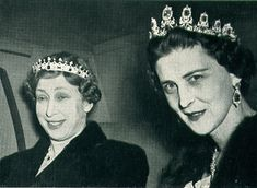Princess Mary, daughter of Queen Mary, wearing Queen Victoria's sapphire coronet; and Princess Marina, wearing the original form of the Cambridge sapphire tiara.
