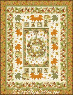 """Easy to make autumn lap quilt using a panel and simple pieced border blocks. Finished Size: Lap/Throw 60"""" x 78"""" Skill Level: Advanced Beginner Technique: Pieced Panel Quilts, Fabric Panels, Quilt Patterns, Autumn, Simple, Easy, Prints, How To Make, Fall Season"""