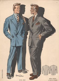 This print from a fashion magazine in the shows the two most common style of suits in that era, double breasted and single breasted. Vintage Fashion 1950s, Vintage Men, Vintage Clothing, Retro Vintage, Fashion Through The Decades, Fashion Prints, Mens Fashion, Google Search, Yahoo Search