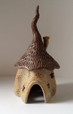 Items similar to Ceramic Fairy Wizard House - Tan and Red/Brown on Etsy