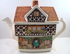 English Country Cottage Ivy House China Tea Pot Spaniels at Door Cat England | eBay