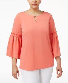 Calvin Klein Plus Size Ruffled Bell-Sleeve Top - Orange 0X