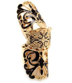 Black Gold Cut Out Filigree Scroll Deco Full Finger Armor Knuckle Ring Size 6 7 Jewelry Art, Jewelry Accessories, Fine Jewelry, Knuckle Rings, Filigree, Black Gold, Jewerly, Finger, Deco