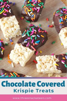 Chocolate Covered Rice Krispie Treats are an extra special twist on classic Rice Krispie squares. They're fun party snacks that are easy to make and perfect for customizing with your favorite colors and sweet goodies, like sprinkles or chopped nuts and more! Cookie Dough Recipes, Donut Recipes, Fudge Recipes, Snack Recipes, Dessert Recipes, Candy Recipes, Fruit Recipes, Cheesecake Recipes, Rice Krispy Treats Recipe