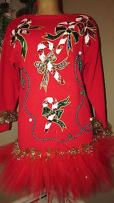 UGLY Christmas Sweater Sequins Candy Canes TuTu Beads & all that good stuff S<3<3SOLD<3<3