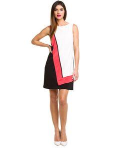 Tahari ASL Ivory Black & Melon Colorblock Dress
