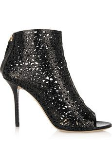 Emilio Pucci Cutout snake-effect leather ankle boots   THE OUTNET