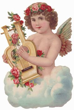 Cherub harp  772px × 1,152px (scaled to 428px × 640px)   Sentimentalia - Victorian Stickers ~ Glansbilleder > Angels ~ Engle