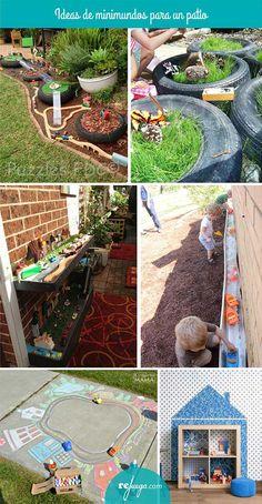 ideas de juego simbílico, mini mundos, en el patio de la escuela
