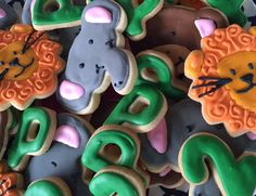 Zoo Animal Sugar Cookies Decorated Jungle Lion by KennedysCookies Lion Cookies, Sugar Cookies, Monkey Birthday Parties, Birthday Party Favors, Jungle Lion, Tree Nuts, Custom Cookies, Cookie Designs, Ribbon Colors