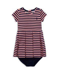 Ralph Lauren Childrenswear Girls' Stripe Ponte Dress & Solid Bloomers - Baby