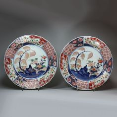 Antique Pair of Japanese imari dishes, 18th century