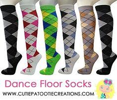 Knee High Dance Floor Socks for Bar Mitzvah, Knee High Dance Floor Socks for Bat Mitzvah, Knee High Dance Floor Socks for B'Nai Mitzvah, Knee High Socks for Mitzvahs, Sweet 16, Quinceanera or Wedding. Knee High Dance Floor Party Socks in Argyle Pattern.
