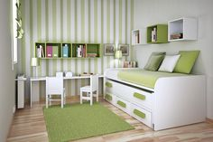 Home decoration, Awesome Veneer Floor Floor With Green White Stripes Wall Decoration Wallpaper Paint And Green Color Wall Boookcase And Bunkbed Green Blanket: Wonderful kids bedroom and learning space design ideas for kids