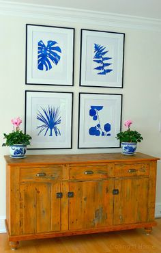 Botanicals in blue - could easily switch these out with the seasons. (If you have changeable gallery frames.)