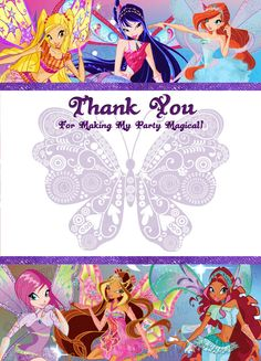 INSTANT DOWNLOAD- Winx Club Thank You Card (Winx Club Party Pack)
