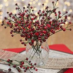 Package of 12 Festive Artificial Vinyl Picks with Small Red and Burgundy Berries;