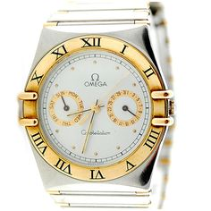 Men's two-tone Omega Constellation watch.