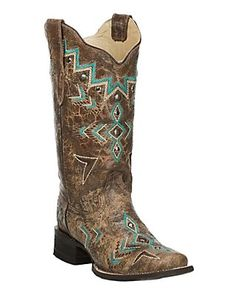 Corral Women's Bronze with Turquoise Aztec Embroidery Square Toe Western Boot
