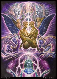 Tantric Union - Twin Rays by Kuba Ambrose Spiritual Pictures, Spiritual Love, Art Visionnaire, Kundalini, Twin Flame Love, Twin Flames, Flame Art, Psy Art, Twin Souls