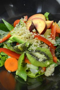 Get fruity with your salad! Put organic kiwi and nectarine slices on red bell peppers, avocado, quinoa, cucumbers, carrots, snap peas, romaine, and kale! Whoa!