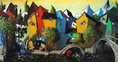 """Miguel Freitas: """"Summer Vacation"""", acrylic on board."""