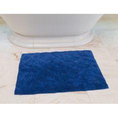 Linen Tablecloth Foliage Cotton Bath Mat Color: Royal Blue