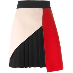Fausto Puglisi Panelled Pleated Skirt found on Polyvore featuring skirts, multicolour, knee length pleated skirt, multi color skirt, multi colored skirt, fausto puglisi and multicolor skirt