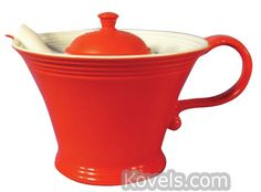 Hall China Red & White Melody Teapot