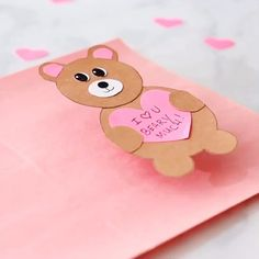 Get the printable template to make this sweet Valentine Cards for Kids. The post Valentine Bear Heart Card appeared first on Gift for Boyfriend. Valentines Day Cards Diy, Bear Valentines, Valentine's Day Crafts For Kids, Valentine Crafts For Kids, Valentine's Cards For Kids, Diy Cards For Him, Card Making For Kids, Making Cards, Love Cards