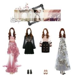 """""""— Miyoung ✧ Baby Steps MV outfits"""" by primrose-official ❤ liked on Polyvore featuring Marchesa, Gioelli, Giambattista Valli, Reem Acra, Dsquared2, Sophia Webster, Dolce&Gabbana, Gucci, Balmain and Alexander McQueen"""