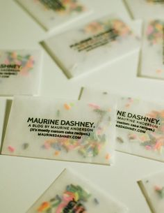 stamping glassine envelopes with a customizable stamp and then filling the envelopes with bits of confetti.