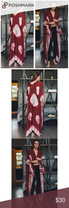 """New Arrival- Tie Dye Kimono Cardigan Long tie dye Kimono with armholes. Very soft and comfortable. Bohemian  kimono. 100% viscose. 43""""X38"""". Tie dye. These are great for warm or cold weather. Makes a great bathing suit cover as well! Price is firm unless bundled. Thank you 💕 Swim Coverups"""