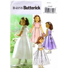 Amazon.com: Butterick 4058 Sewing Pattern Toddler Girls Formal Dress Size 2 - 3 - 4 - 5: Home & Kitchen