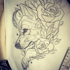 Fox Tattoo, Wolf Tattoos, Animal Tattoos, Tattoo Ink, Tattoo Sketches, Tattoo Drawings, Body Art Tattoos, Sleeve Tattoos, Adventure Time Tattoo