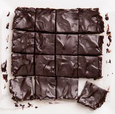 """Secretly healthy """"unbaked"""" brownies, from @choccoveredkt... dairy-free, egg-free, raw, vegan, paleo, & gluten-free. Full recipe: http://chocolatecoveredkatie.com/2016/03/07/the-ultimate-unbaked-brownies-raw-vegan/"""