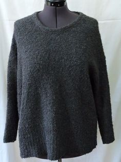 Pure Jill Women Charcoal Wool Sweater Size PL #JJill #Crewneck
