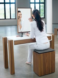 Modern vanity table and bench.  I need one of these for my apartment.