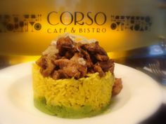 Veal in oyster sauce with yellow basmati rice