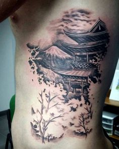 60 Pagoda Tattoo Designs For Men - Tiered Tower Ink Ideas Asian Tattoos, Leg Tattoos, Body Art Tattoos, Sleeve Tattoos, Tattoos For Guys, Cool Tattoos, Japanese Tattoos For Men, Japanese Tattoo Art, Japanese Tattoo Designs