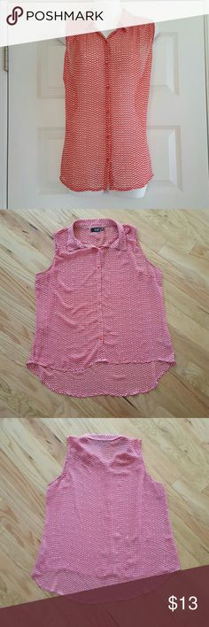 High Low Red Chevron Loose Blouse Beautiful loose high low blouse from a.n.a.  Perfect for summer days!  You will need to wear a camisole underneath because the fabric is very sheer a.n.a Tops Blouses