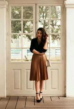 full skirt with simple top