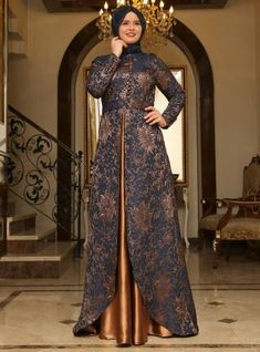 Blue and golden front open gown style formal party wear abaya with hijab styles