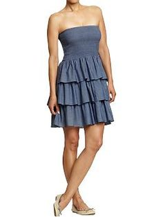OMG, stop it - this is too cute... Tiered-Ruffle Chambray Tube Dresses | Old Navy
