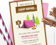 Camping Party Invitation - Girl Birthday Party - Glamping - Sleepover - Camp Out Party - Pink - PRINTABLE JPEG or PDF file by mypartydesign on Etsy https://www.etsy.com/listing/258656197/camping-party-invitation-girl-birthday