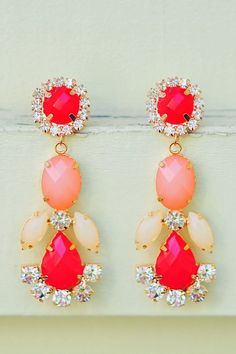 STATEMENT-J'Adore J. Crew, summer statement necklace (peach/coral/orange), morganite and diamond ring, saint laurent cuff